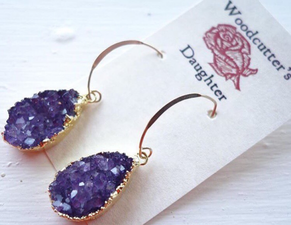 Amethyst druzy earrings 35mm