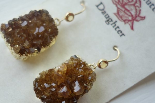 Citrine and faceted earrings
