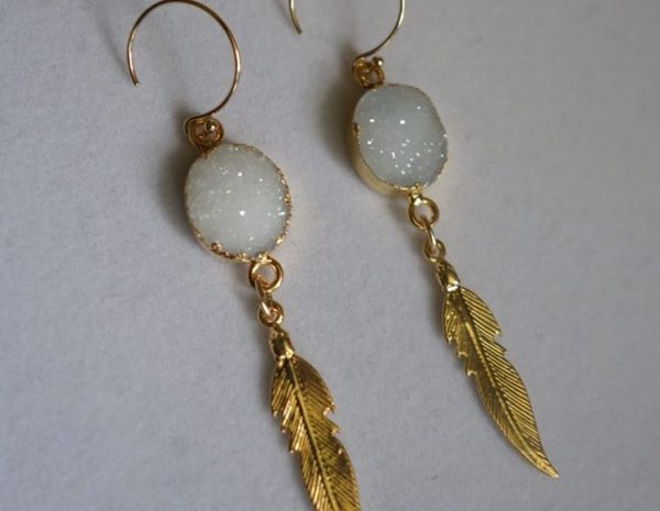 Feather and Druzy earrings
