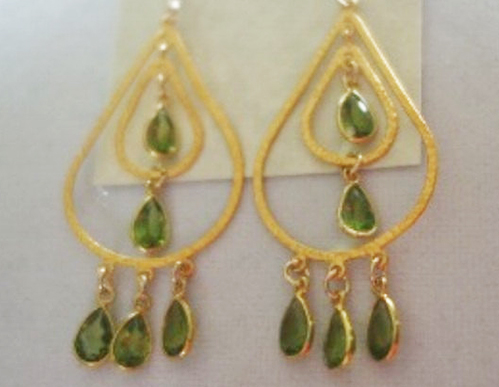 Sparkling Peridot Gold Chandelier Earrings