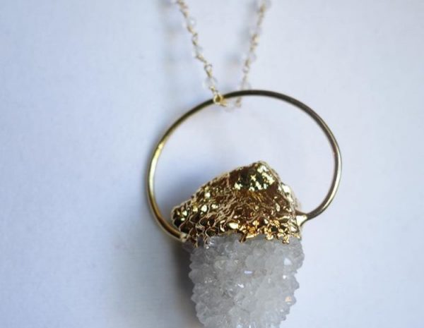 cactus quartz necklace statement bail